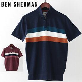 ベンシャーマン メンズ ポロシャツ ポロ ニット Ben Sherman ジップ タートルネック 2色 ネイビー ワイン ギフト