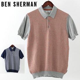 ベンシャーマン メンズ ポロシャツ ポロ ニット Ben Sherman マイクロジオ 2019 新作 2色 グレー ネイビー プレゼント ギフト