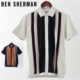 ベンシャーマン メンズ ポロシャツ ポロ ニット Ben Sherman ストライプ ボタンスルー 2019 新作 2色 エクルー ネイビー プレゼント ギフト