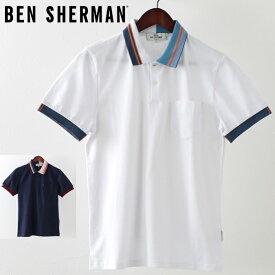 ベンシャーマン メンズ ポロシャツ ポロ Ben Sherman ピケ 鹿の子 ティップライン 2019 新作 2色 ホワイト ネイビー プレゼント ギフト
