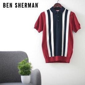 ベンシャーマン メンズ ポロシャツ ニット ポロ カラー ブロック 20SS 新作 Ben Sherman レッド ネイビー レギュラー フィット ギフト