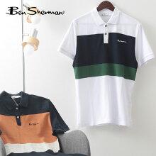 BenShermanメンズポロシャツ半袖ポロカラーブロックパネルストライプ21SS新作ベンシャーマン2色ミッドナイトホワイトコットンレトロレギュラーフィットギフトモッズトラッド