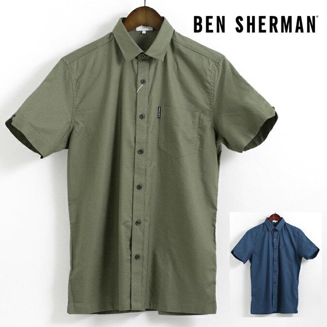 ベンシャーマン Ben Sherman 半袖シャツ バック プリント 刺繍 18SS 新作 2色 オリーブ ブルー レギュラーフィット メンズ プレゼント ギフト
