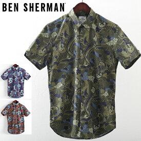 ベンシャーマン メンズ 半袖シャツ Ben Sherman サイケデリックフローラル 3色 レギュラーフィット MOD Regular Fit ボタンダウン ギフト モッズファッション