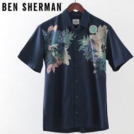 ベンシャーマン メンズ 半袖シャツ フォリッジ リーフ ビスコース Ben Sherman 2019 新作 ダークブルー リラックスフィット プレゼント ギフト