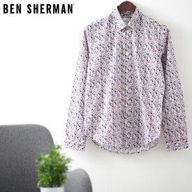ベンシャーマン メンズ 長袖シャツ 花柄シャツ フローラル 20SS 新作 Ben Sherman ブルー スリムフィット ギフト