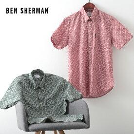 ベンシャーマン メンズ 花柄シャツ 半袖シャツ フローラルプリント 20SS 新作 Ben Sherman 2色 テラコッタ トレッキンググリーン レギュラーフィット ボタンダウン ギフト