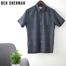 ベンシャーマン メンズ 半袖シャツ リネン ストライプ 20SS 新作 Ben Sherman ダークネイビー レギュラーフィット ギフト