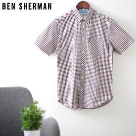 ベンシャーマン メンズ 半袖シャツ ハウスチェック シグネチャー 20SS 新作 Ben Sherman レッド レギュラーフィット ギフト