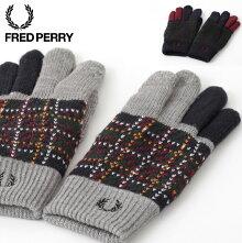 フレッドペリーFredPerryグローブ手袋ニットスマートフォン対応18AW新作2色ネイビーグレーレディースメンズプレゼントギフト正規販売店