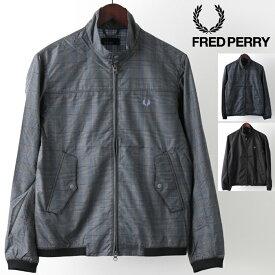 SALE セール フレッドペリー Fred Perry ハリントンジャケット プリント スウィングトップ 3色 グレー ブラック チェック 正規販売店 メンズ プレゼント ギフト