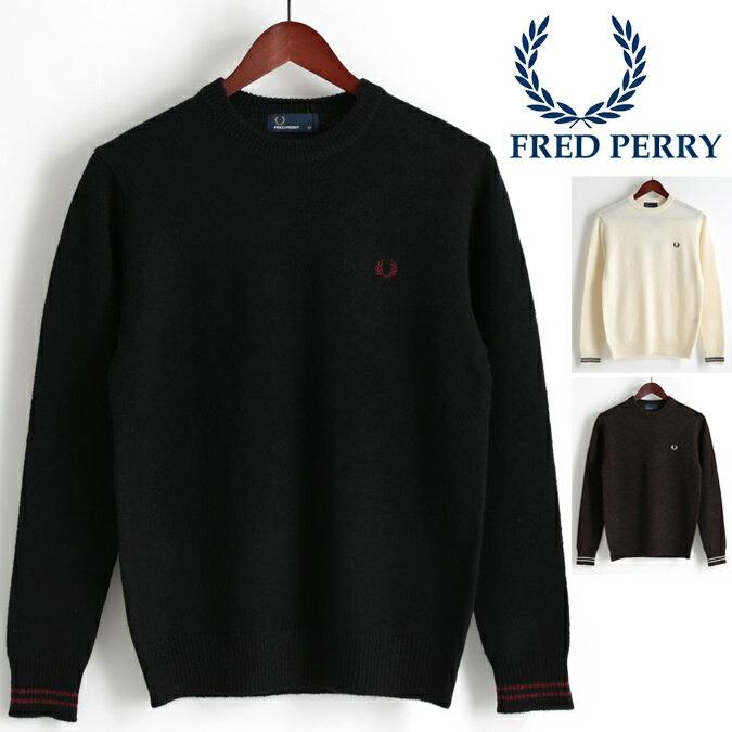 フレッドペリー Fred Perry セーター クルーネック ニット 3色 ブラック オフホワイト ブラウン 正規販売店 メンズ プレゼント ギフト クリスマス