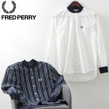 フレッドペリー秋冬メンズ長袖TEXBRIDシアサッカー素材ボンバーネックシャツ20AW新作FredPerry2色ネイビーオフホワイト正規販売店ギフト