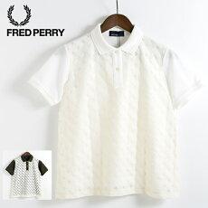 フレッドペリーレディースピケシャツブラウスレースブロック18SS新作2色日本製オフホワイトオリーブFredPerryMadeinJapanプレゼントギフト
