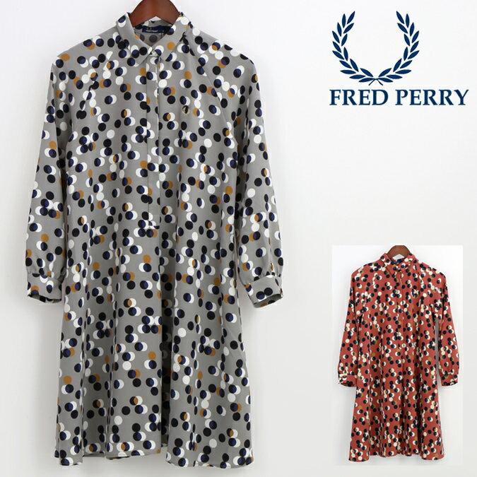 Fセール フレッドペリー Fred Perry レディース プリントシャツ ドレス ドット レトロ 正規販売店 プレゼント ギフト