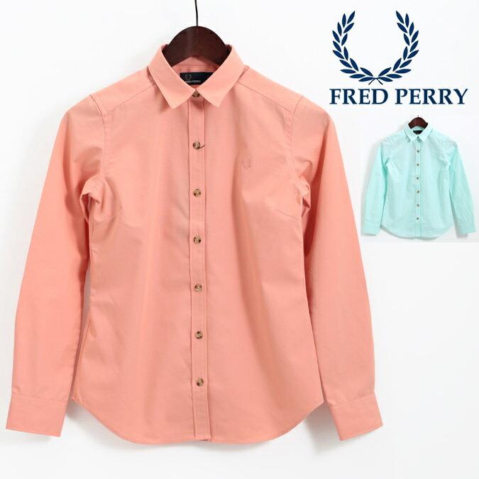 フレッドペリー レディース ウーブンシャツ 無地 プレーン 長袖シャツ ブラウス レギュラーシャツ Fred Perry 18SS 2色 ピンク グリーン プレゼント ギフト