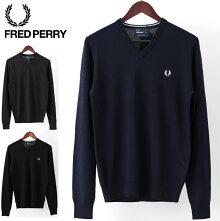 フレッドペリーFredPerryセーターVネッククラシックウール18AW新作3色ブラックダークカーボン正規販売店メンズプレゼントギフト