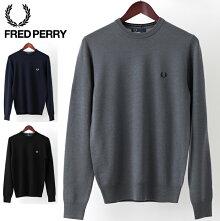 フレッドペリーFredPerryセータークルーネッククラシックウール18AW新作3色ブラックダークカーボンスレート正規販売店メンズプレゼントギフト
