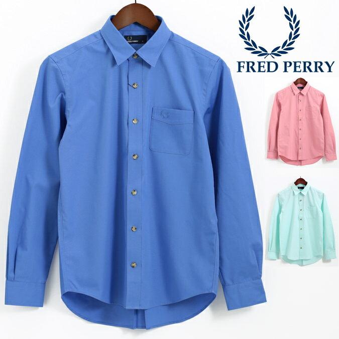 フレッドペリー Fred Perry ウーブンシャツ プレーン 無地 長袖シャツ 18SS 3色 ブルー ピンク グリーン 正規販売店 メンズ プレゼント ギフト