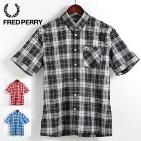 フレッドペリーFredPerry半袖シャツボールドタータン3色ブラックリッチレッドスカイ隠れボタンダウン正規販売店メンズプレゼントギフト