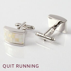 英国ブランドカフス カフリンクス Quit Running ステンレス 男性 クイトランニング シルバー シェル ホワイト プレゼント ギフト 就職祝い 卒業式 メンズ シンプル