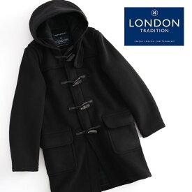 LONDON TRADITION メンズ スリムロングダッフルコート ブラック MARTIN 秋冬 19AW 英国製 ウール ロンドントラディション マーティン チェック 上着 MADE IN ENGLAND プレゼント ギフト 長い 厚手 防寒