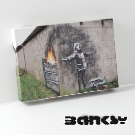 "BANKSY CANVAS ART キャンバス アートファブリックパネル スモール ""Seasons Greeting"" 31.5cm × 21cm アート グリーティング ギフト トラッド"