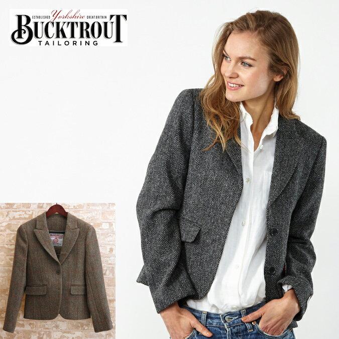 ハリスツイード バックトラウト Harris Tweed ジャケット テーラード 英国縫製 ヘリンボーン チェック 2色 Tammy ピュアニューウール100% Bucktrout レディース プレゼント ギフト