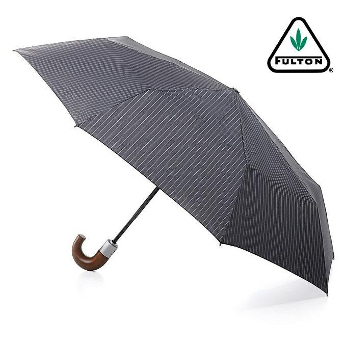 フルトン FULTON 折りたたみ 傘 メンズ Chelsea 紳士用 紳士 ストライプ グレー 正規 かさ ワンタッチ ジャンプ傘 プレゼント ギフト