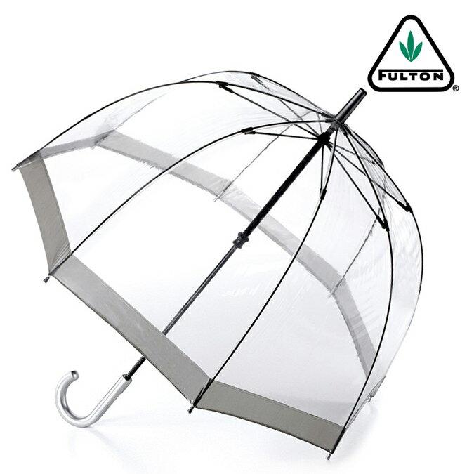 FULTON フルトン 傘 レディース バードケージ 長傘 透明 シルバー メタリック 正規 かさ 鳥かご プレゼント ギフト