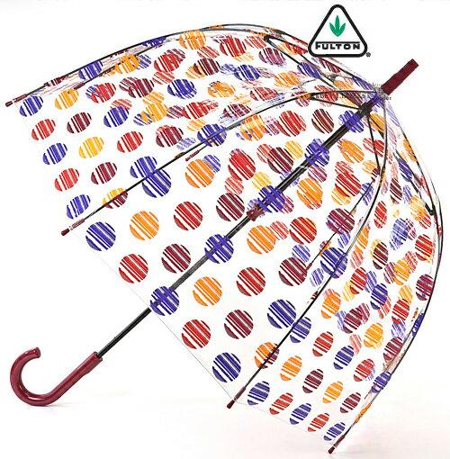 フルトン FULTON 傘 レディース バードケージ FULTON ブラッシュスポット 長傘 女性用 【送料無料】 アンブレラ 英国王室御用達 クリア 透明 SPOT 水玉 レディース BirdCage Umbrella 正規 かさ 鳥かご フルトン おしゃれ ファッション ロンドン fultonl042brushedspot