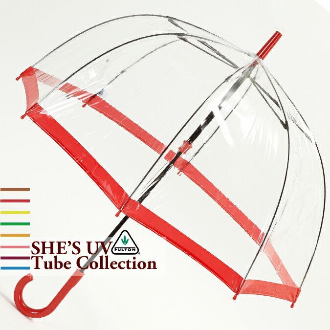 フルトン Fulton 傘 バードケージ She's UV Central Red プロテクション レッド 長傘 レディース 正規 かさ FULTON プレゼント ギフト 母の日