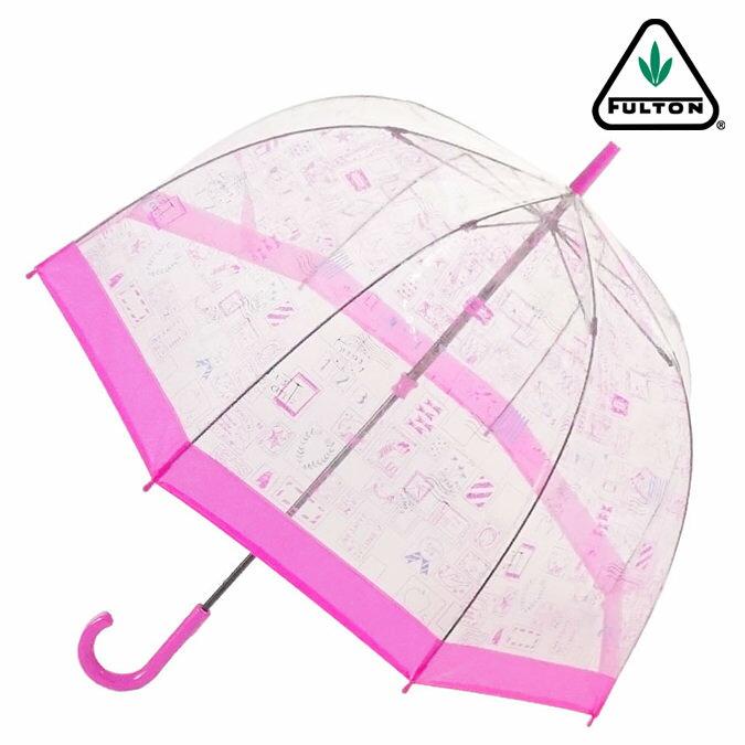 FULTON フルトン 傘 バードケージ スタンプ ピンク 長傘 花柄 レディース 正規 かさ プレゼント ギフト