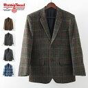 SALE セール ハリスツイード 秋冬 メンズ ウールジャケット Harris Tweed Clothing チェック ピュア ファイン ウール …