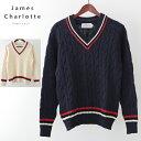 セール SALE JAMES CHARLOTTE チルデンニットセーター ジェームスシャルロット ユニセックス メンズ クリケットセーター Vネック ウール クリケット 英国製 Made in UK ジェームスシャーロット レディース プレゼント ギフト