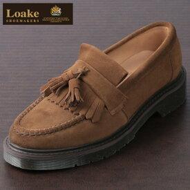 ロークイングランド メンズ タッセルローファー バーントシュガースエード 革靴 ビジネス LoakeEngland EX 2E Brighton ブラウン ローファー モッズ レディース プレゼント ギフト