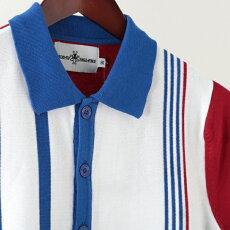 MadcapEnglandポロシャツポロボタンスルー18SS新作ストライプマッドキャップホワイトメンズプレゼントギフト