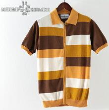 MadcapEnglandメンズポロシャツポロパッチワークタイルジップスルー19SS新作バックソーンオレンジマッドキャッププレゼントギフトホワイトデー