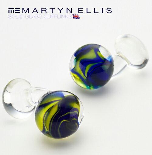 Martyn Ellis カフス カフスボタン カフリンクス 男性用 マーティン エリス イエロー ガラス カフス カフリンクス プレゼント ギフト