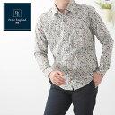 ピーターイングランド 英国老舗ブランド メンズ花柄シャツ 2021 SS 新作 日本縫製 フローラルプリント ホワイト コットン 長袖 メンズ …