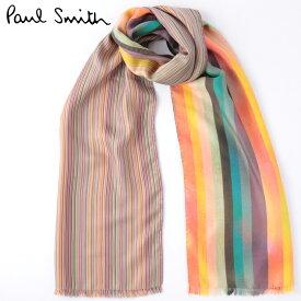 PAUL SMITH メンズ スカーフ シルク マフラー ポールスミス ストライプ アーティスト クラッシュ マルチ モッズファッション イタリア製 ギフト トラッド
