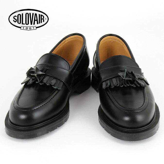 Fセール SOLOVAIR ソロヴェアー 革靴 レディース ローファー ブラック タッセル フリンジ レディース ギフト 女性 Black loafer ビジネス靴 クラシック イギリス モッズ