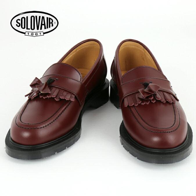 Fセール SOLOVAIR ソロヴェアー 革靴 レディース ローファー オックスブラッド タッセル フリンジ レディース ギフト 女性 Oxblood loafer ビジネス靴 クラシック イギリス モッズ