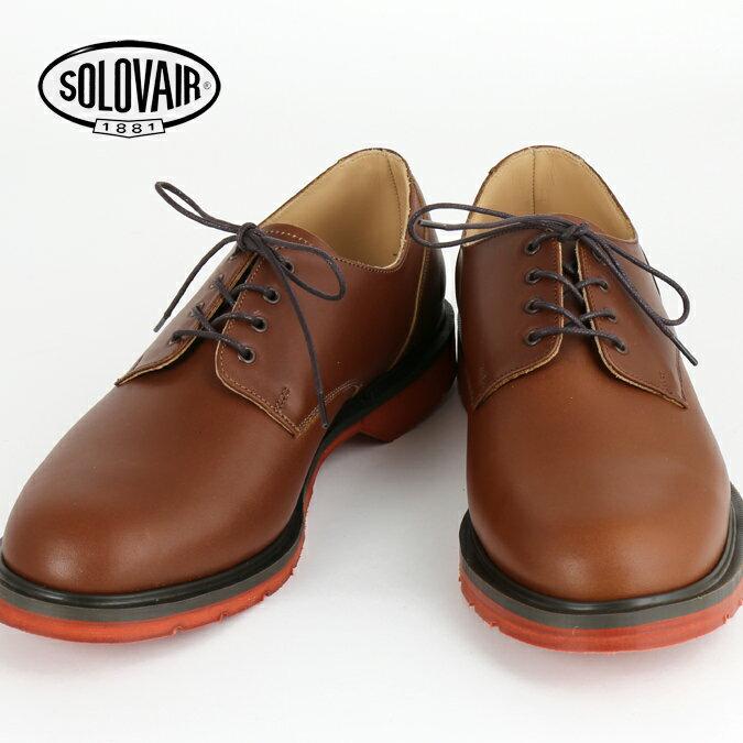 SOLOVAIR ソロヴェアー 革靴 ギブソン レザーシューズ チェスナット ブラウン プレーントウ プレイン ダービー メンズ レディース ギフト 紳士 男性 ビジネス靴 イギリス モッズ