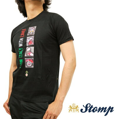 セール ストンプ Stomp Tシャツ T シャツ From Italy with love ブラック Black モッズスクーター ロゴ コットン UK モッズ scm044black *xs *s *m プレゼント ギフト
