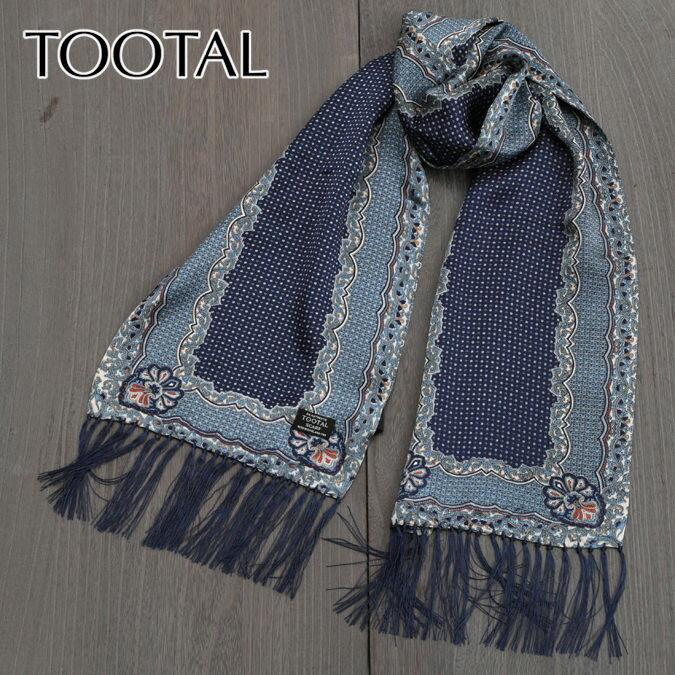 NY セール Tootal Vintage トゥータル ヴィンテージ シルクスカーフ ペイズリー ドット ディープブルー オリジナル メンズ レディース プレゼント ギフト