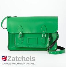 Zatchelsサッチェルバッグ16インチ29×40×10cm英国製マグネットストラップグリーンかばんバッグメンズレディース