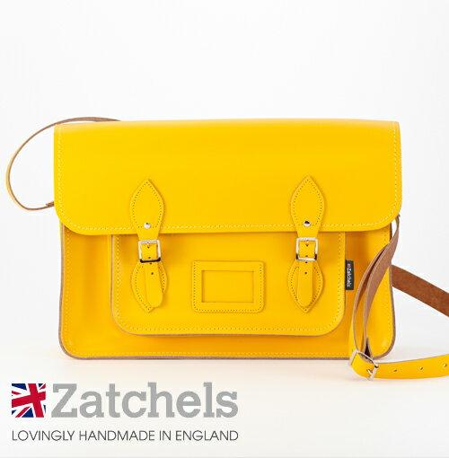 Zatchels サッチェルバッグ 16インチ 40x29x10cm 英国製 マグネットストラップ イエロー かばん バッグ メンズ レディース