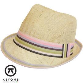KEYONE キーヨン 麦わら 帽子 ストローハット 【送料無料】 ストロー ハット 麦わら帽子 Pacific Natural Rosa Straw Hat カラフル ストライプリボン ベージュ Beige UK モッズファッション keypacnauros プレゼント ギフト