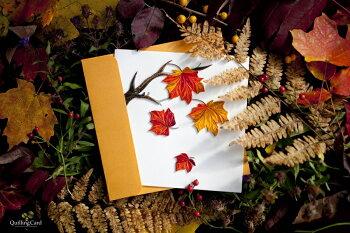 """[953-924]QuillingCardLLCグリーティングカード""""AutumnLeave""""ペーパークイリング"""